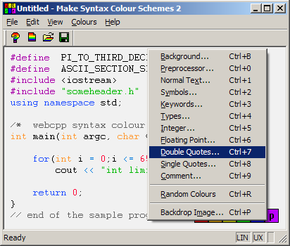 Make Syntax Colour Schemes 2 for Windows - Operation Manual